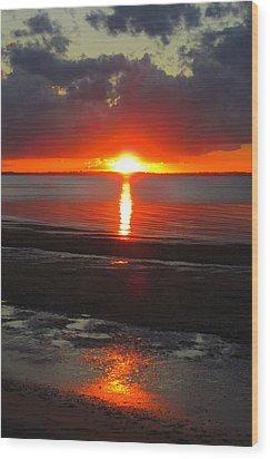 Blazing Sunset Wood Print by Ramona Johnston