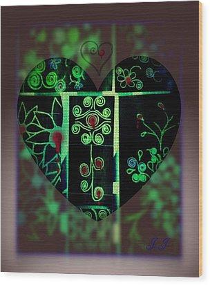 Bleeding Hearts Wood Print by Jan Steadman-Jackson
