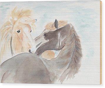 Blesi And Bear Wood Print by Debi Hamari