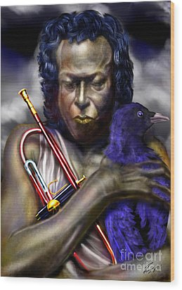 Blessings And Curses - Miles Davis Wood Print by Reggie Duffie