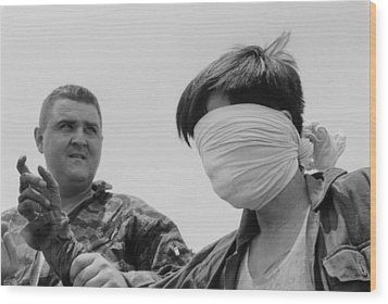 Blindfolded Viet Cong Pow. Us Marine Wood Print by Everett