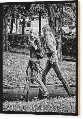 Wood Print featuring the photograph Blond Girls In Russian Park by Rick Bragan