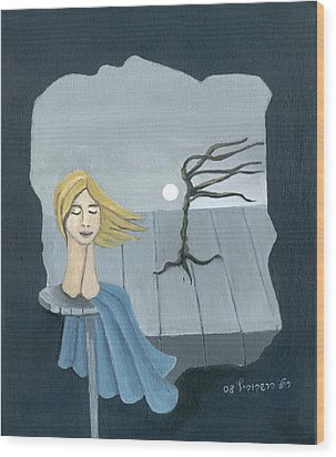 Blond In The Wind Surrealistic Landscape Windy Tree Woman Head In Blue And Yellow  Wood Print by Rachel Hershkovitz