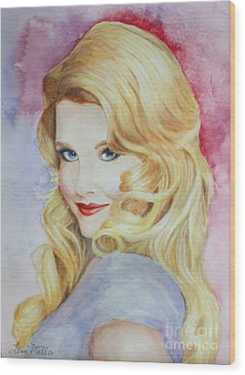 Blond Pinup  Wood Print by Terri Maddin-Miller