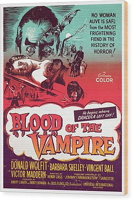 Blood Of The Vampire, Donald Wolfit Wood Print by Everett
