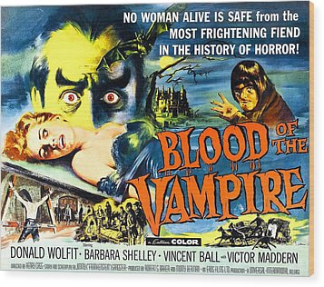 Blood Of The Vampire, Girl On Table Wood Print by Everett