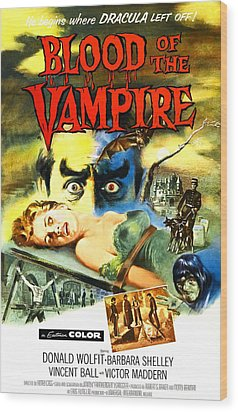 Blood Of The Vampire, Woman On Table Wood Print by Everett