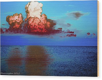 Blood Red Clouds Wood Print by Shannon Harrington