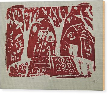 Wood Print featuring the painting Blood Rituals In Red For The Mayan Forest Agriculture With Trees Houses And Land Plots by M Zimmerman