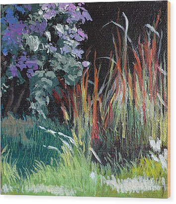 Bloodgrass And Asters Wood Print by Melody Cleary