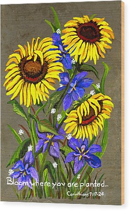 Bloom Wood Print by Elaine Hodges