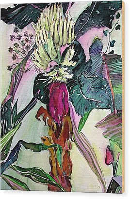 Blooming Bananas  Wood Print by Mindy Newman