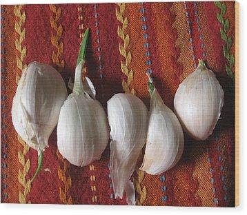 Blooming Garlic Bulbs Wood Print