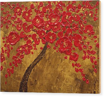 'blossom' Original Impasto Palette Knife Abstract Painting Cherry Tree Wood Print by Aboli Salunkhe