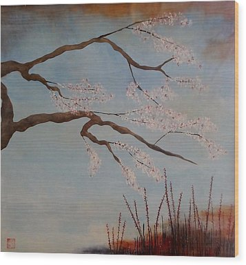 Blossoms Over The Lake Wood Print by Catherine JN Christopher