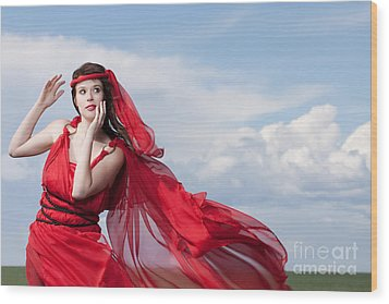 Blown Away Woman In Red Series Wood Print by Cindy Singleton