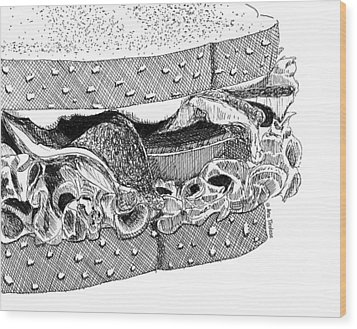 Wood Print featuring the drawing Blt Sandwich by Ana Tirolese
