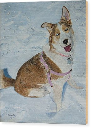 Blue - Siberian Husky Dog Painting Wood Print by Patricia Barmatz