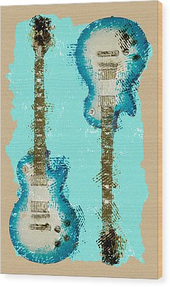 Blue Abstract Guitars Wood Print by David G Paul