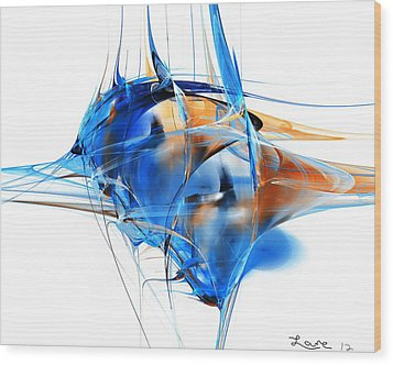 Blue Abstraction Wood Print