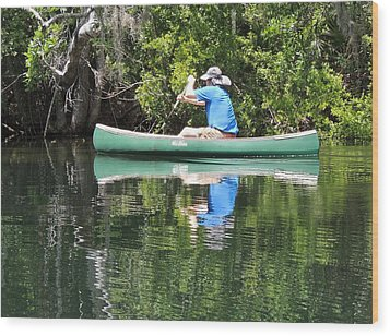 Blue Amongst The Greens - Canoeing On The St. Marks Wood Print by Marilyn Holkham