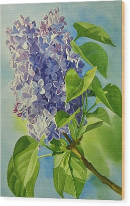 Blue And Lavender Lilacs Wood Print by Sharon Freeman