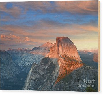 Blue And Orange Sunset Over Half Dome Yosemite Wood Print by Nature Scapes Fine Art