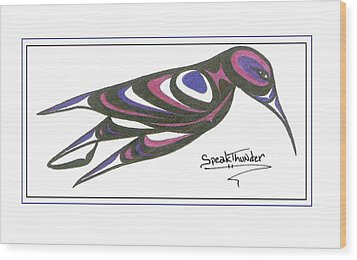 Blue And Purple Humming Bird Wood Print by Speakthunder Berry