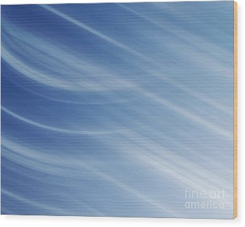 Blue And White Linear Background Wood Print by Blink Images