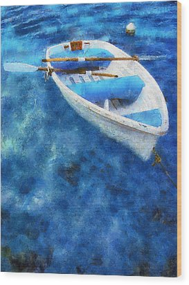 Blue And White. Lonely Boat. Impressionism Wood Print by Jenny Rainbow