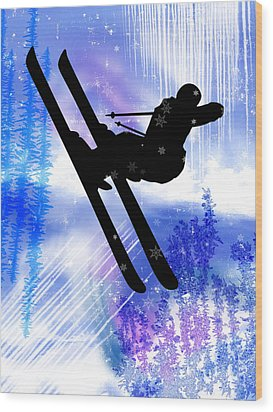 Blue And White Splashes With Ski Jump Wood Print by Elaine Plesser