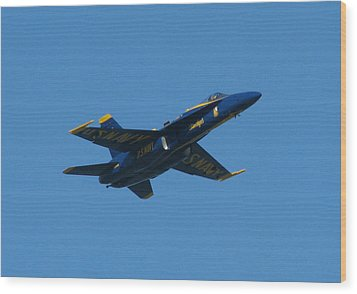 Wood Print featuring the photograph Blue Angel Solo by Samuel Sheats