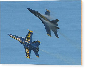 Blue Angels Break Wood Print by Samuel Sheats