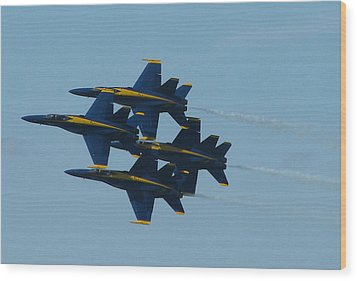 Wood Print featuring the photograph Blue Angels Diamond From Right by Samuel Sheats