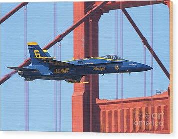 Wood Print featuring the photograph Blue Angels F-18 Super Hornet . 7d8055 by Wingsdomain Art and Photography