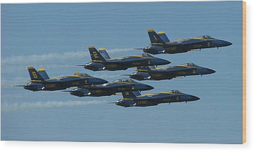 Wood Print featuring the photograph Blue Angels Take 6 by Samuel Sheats