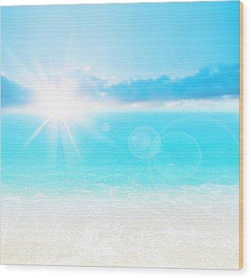 Blue Beach Background Wood Print by Anna Om