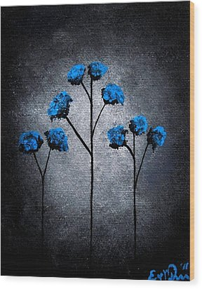 Wood Print featuring the painting Blue Beauties by Oddball Art Co by Lizzy Love