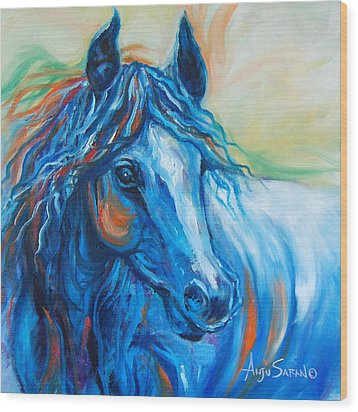 Blue Beauty Wood Print by Anju Saran