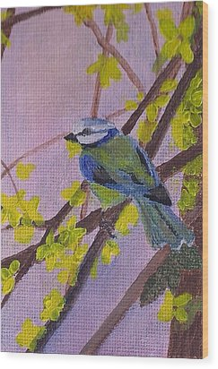 Wood Print featuring the painting Blue Bird by Christy Saunders Church