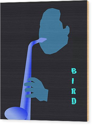 Blue Bird Wood Print by Victor Bailey