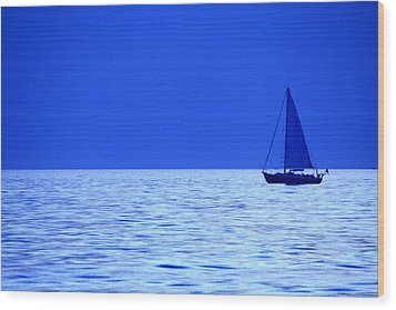 Blue Boat Wood Print by Coby Cooper