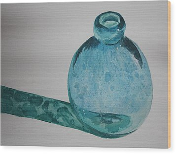 Blue Bottle Wood Print by Rachel Hames
