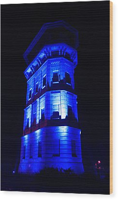 Blue Building Wood Print by Ion Para