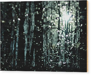 Blue Burns The Twilight Wood Print by Rebecca Sherman
