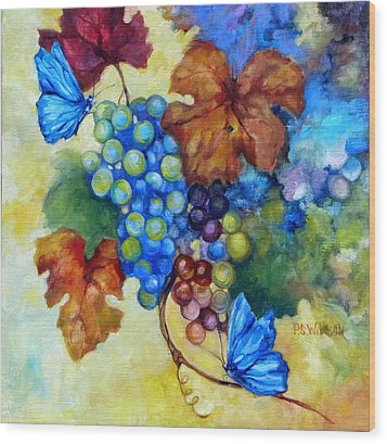 Blue Butterflies And Grapevine  Wood Print by Peggy Wilson