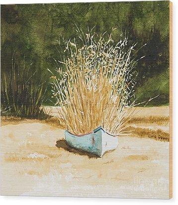 Blue Canoe Wood Print by Carla Dabney