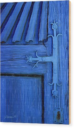 Blue Church Door Wood Print