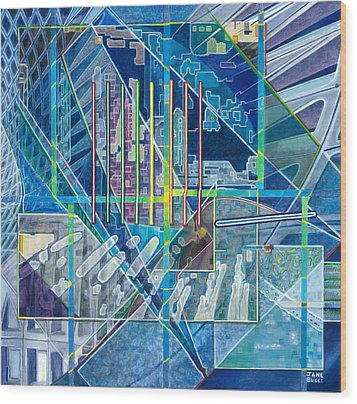 Blue City Day Wood Print by Jane Bucci