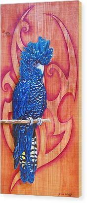 Blue Cockatoo Wood Print by Diana Shively